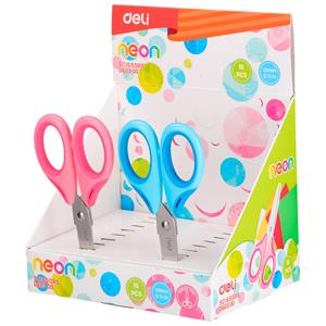 TESOURA ESCOLAR DELI NEON SOFT TOUCH ED60300 13,5CM EXP.16